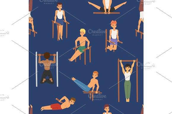 Cartoon horizontal chin-up street workout strong athlete vector man gym doing bar exercise street hard work tricks muscular fitness sportman character seamless pattern background