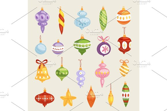 Christmas tree toys vector decorations balls, circle, stars, bells for decorate New Year Xmas tree toys on branches illustration