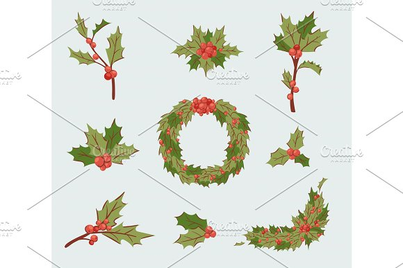 Christmas Holly Berry Decoration Vector Leaves Tree Set Xmas Traditional Holly Berry Symbol Leaf Icon Branch Illustration