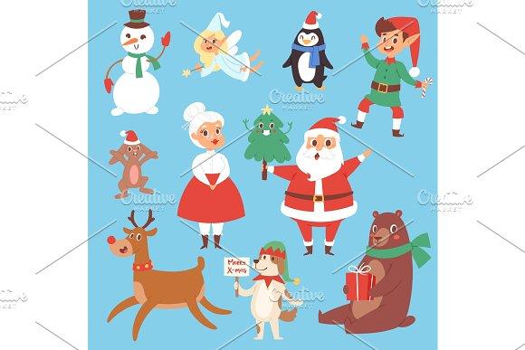 Christmas vector characters cute cartoon Santa Claus, snowman ...