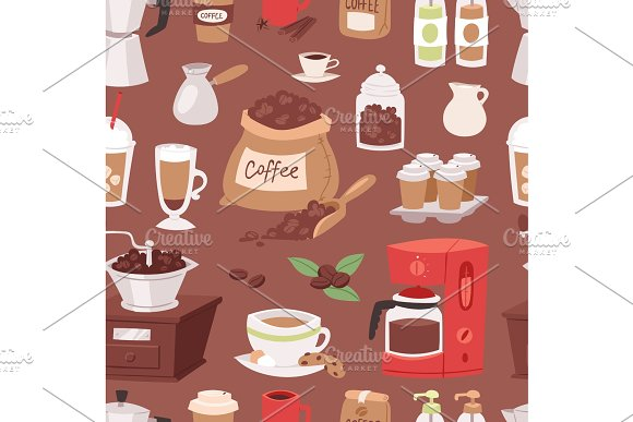 Coffee drink cartoon pot devices and morning beverage coffeemaker espresso cup, desserts coffeine product vector seamless pattern background