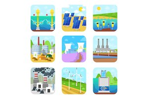 Energy power vector electricity energetic powerful stations factory renewable alternative sources solar, hydroelectric or wind set illustration isolated on white background