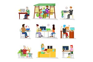 People work vector business worker or person working on laptop in office businesswomen worked people on computer with coworker illustration isolated on white background