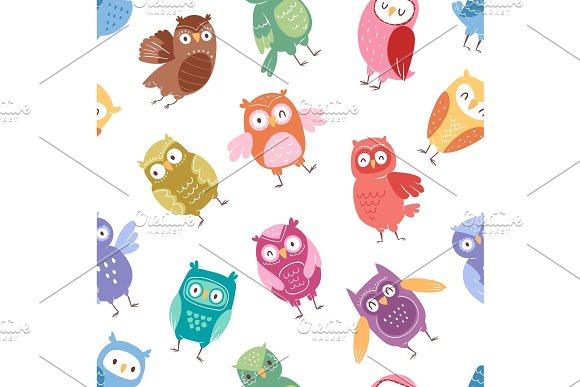 Owls vector cartoon cute bird set cartoon owlet character kids animal baby art for children owlish collection seamless pattern background