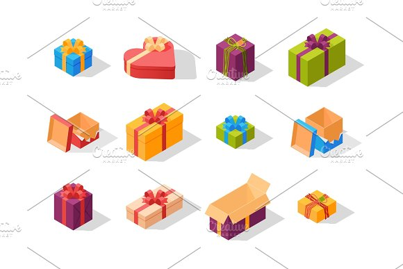 Gift boxes pack composition event greeting isometric birthday isolated vector illustration.