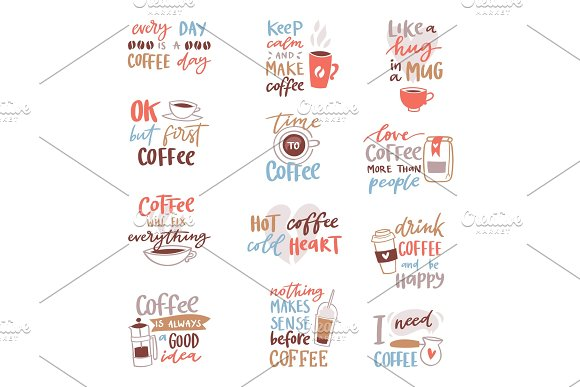 Coffee lettering vector coffeecup quote phrase hot drink mug inspiration coffeetime calligraphy style typography illustration isolated on white background