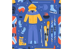 Winter vector sport and clothes icons snow ski, snowboard helmet and board, sledge mountain cold extreme sportsmen clothing wintertime sporting season illustration seamless pattern background