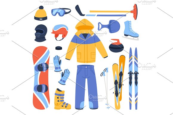 Winter vector sport and clothes icons snow ski, snowboard helmet and board, sledge mountain cold extreme sportsmen clothing fun active wintertime sporting goods season illustration isolated on white in Illustrations