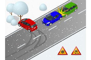 Isometric winter slippery road, car accident. The car rides on a slippery road. The car crashed into a tree. Urban transport.