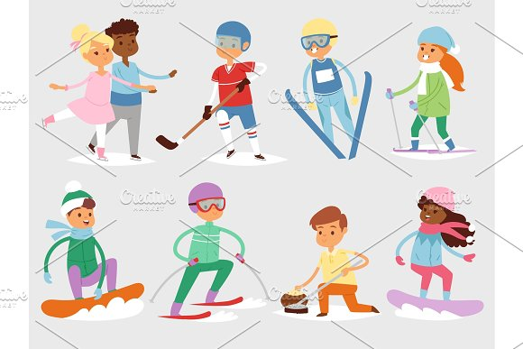 Winter vector sport kids games cute cartoon children fun cold child girl s and boys sportsmen wintertime kid childhood happy illustration isolated vacation people holiday activity ski, sky, snowboard