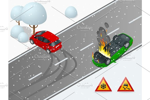 Isometric winter slippery road, car accident. The car rides on a slippery road. The car crashed into a tree, the car turned over and caught fire. Urban transport.