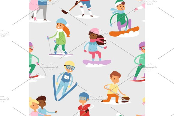 Winter vector sport kids games cute cartoon children fun cold child girl s and boys sportsmen wintertime kid childhood happy seamless pattern background people holiday activity ski, sky, snowboard