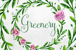 Watercolor greenery floral wreaths