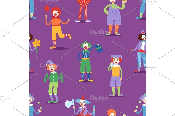 Cartoon clown character funny circus man clownery colorful friendly costume male clownish artist vector illustration seamless pattern background