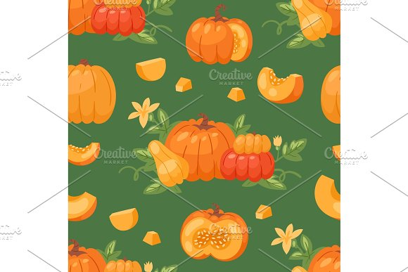 Pumpkin vegetable vector organic healthy autumn food delicious harvest time seasona orange pumpkin cartoon illustration