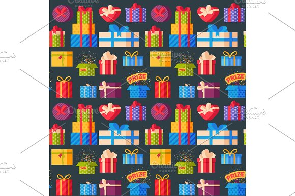 Gift boxes pack composition event greeting object birthday seamless pattern background vector illustration.