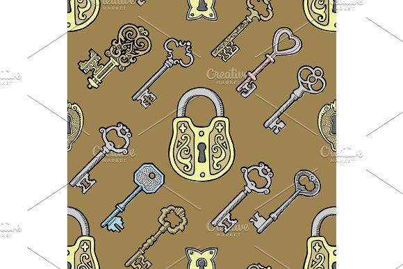 Vector key vintage old sketch retro lock illustration of lock from antique keystone open door keyhole security secret victorian design symbols iseamless pattern background