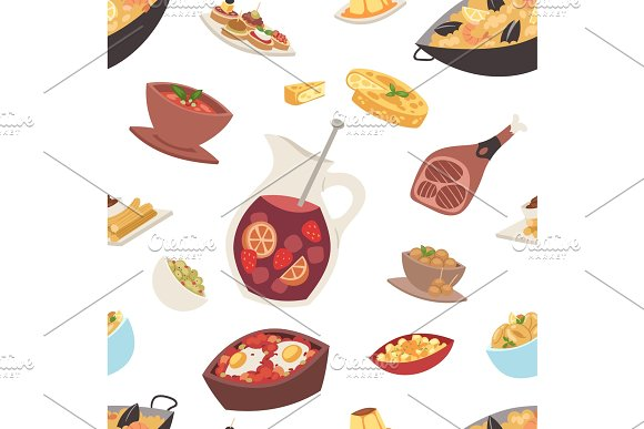 Spain cuisine vector food cookery traditional dish recipe spanish snack tapas crusty bread food gastronomy illustration seamless pattern background