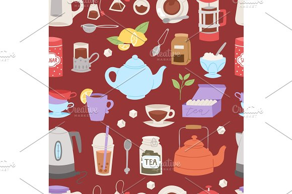 Tea time drinking procedure icons how to prepare hot drink instruction traditional teapot kettle cooking vector illustration seamless pattern background