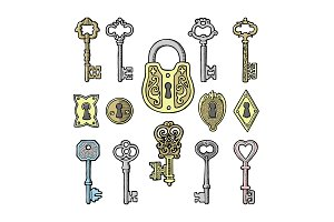 Vector key vintage old sketch retro lock illustration of lock from antique keystone open door keyhole security secret victorian design symbols isolated on white background