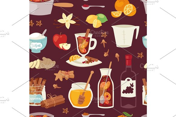 Vector mulled wine Christmas drink multeity ingridients illustration cinnamon hot red spice winter anise beverage holiday alcohol winebowl glass warm holiday recipe seamless pattern background