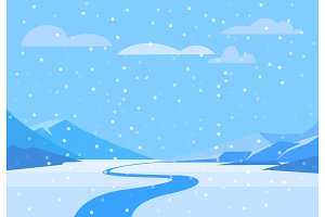Winter landscape with christmas tree mountain frozen nature wallpaper beautiful natural vector illustration.