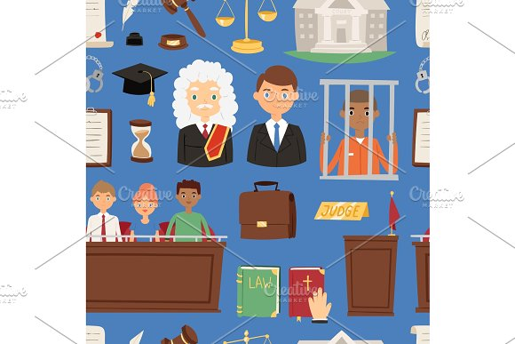 Law justice vector judgement illustration of people lawyer, Judge jury and suspected illegal criminal out-law person prisoner man seamless pattern background in Objects