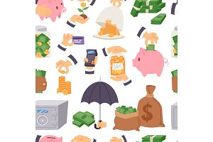 Money save vector symbols capital monetary investment concept finance icons banking safety formation invest loan strategy for profit savings bank seamless pattern background