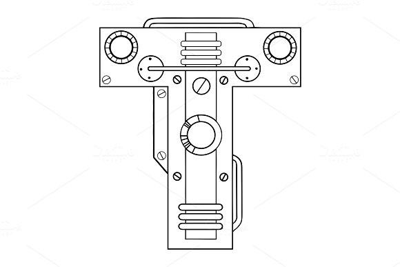 Mechanical letter T engraving vector illustration