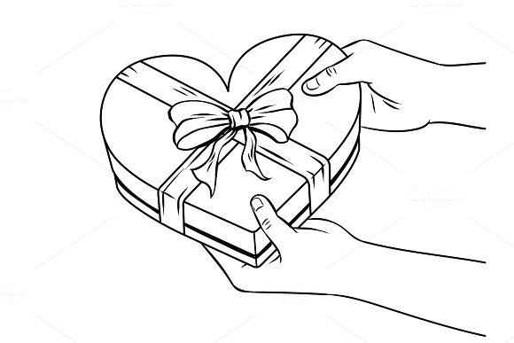 Red heart shaped gift box coloring book vector