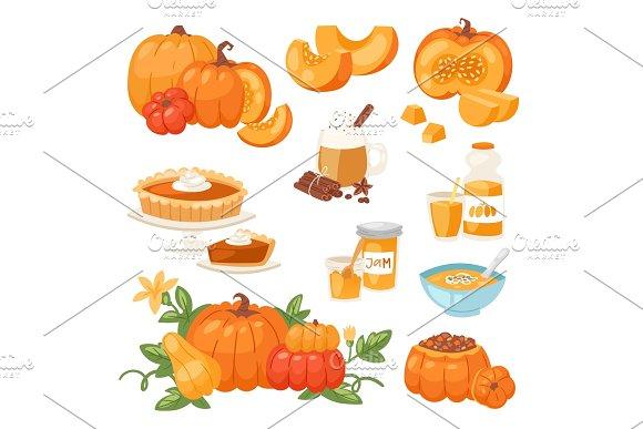 Pumpkin food vector soup, cake, pie meals organic healthy autumn food delicious harvest time seasona pumpkin illustration in Illustrations