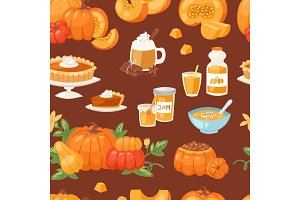 Pumpkin food vector soup, cake, pie meals organic healthy autumn food delicious harvest time seasona pumpkin seamless pattern background