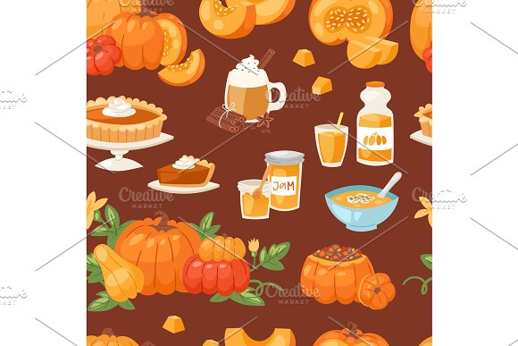 Pumpkin food vector soup, cake, pie meals organic healthy autumn food delicious harvest time seasona pumpkin seamless pattern background in Illustrations
