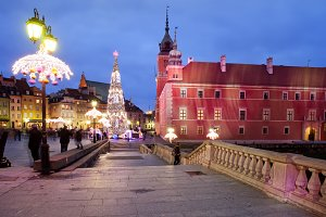 Warsaw Old Town By Night In Poland