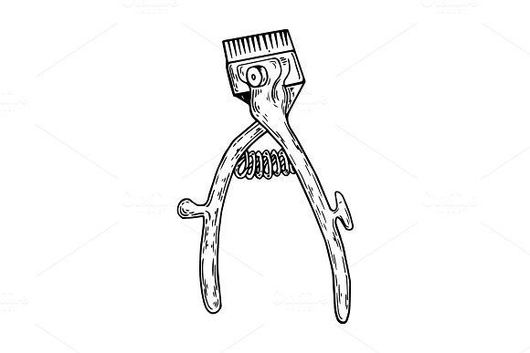 Hand hair clipper engraving vector illustration