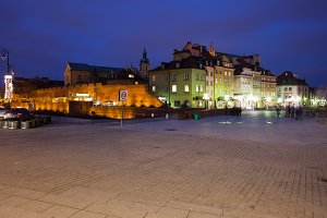 Warsaw Old Town Skyline At Night