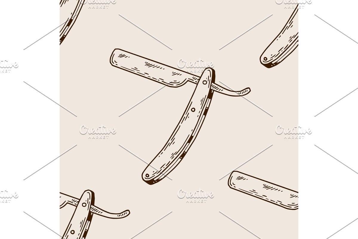 Straight razor seamless pattern engraving vector