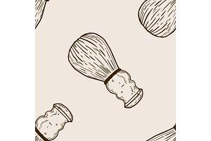 Shaving brush seamless pattern engraving vector