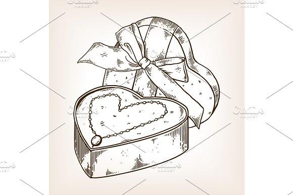 Diamond necklace heart engraving vector