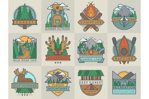 Camping outdoor tourist travel logo scout badges template emblems vector illustration set