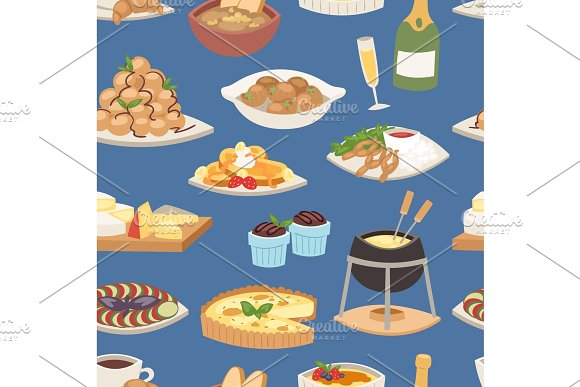 French food vector traditional delicious cuisine meal healthy dinner lunch continental frenchman gourmet plate dish seamless pattern food background illustration