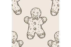 Cookie man seamless pattern engraving vector
