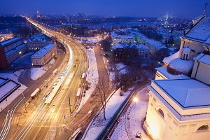 Warsaw City On Winter Night