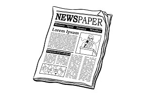 Newspaper coloring book vector illustration