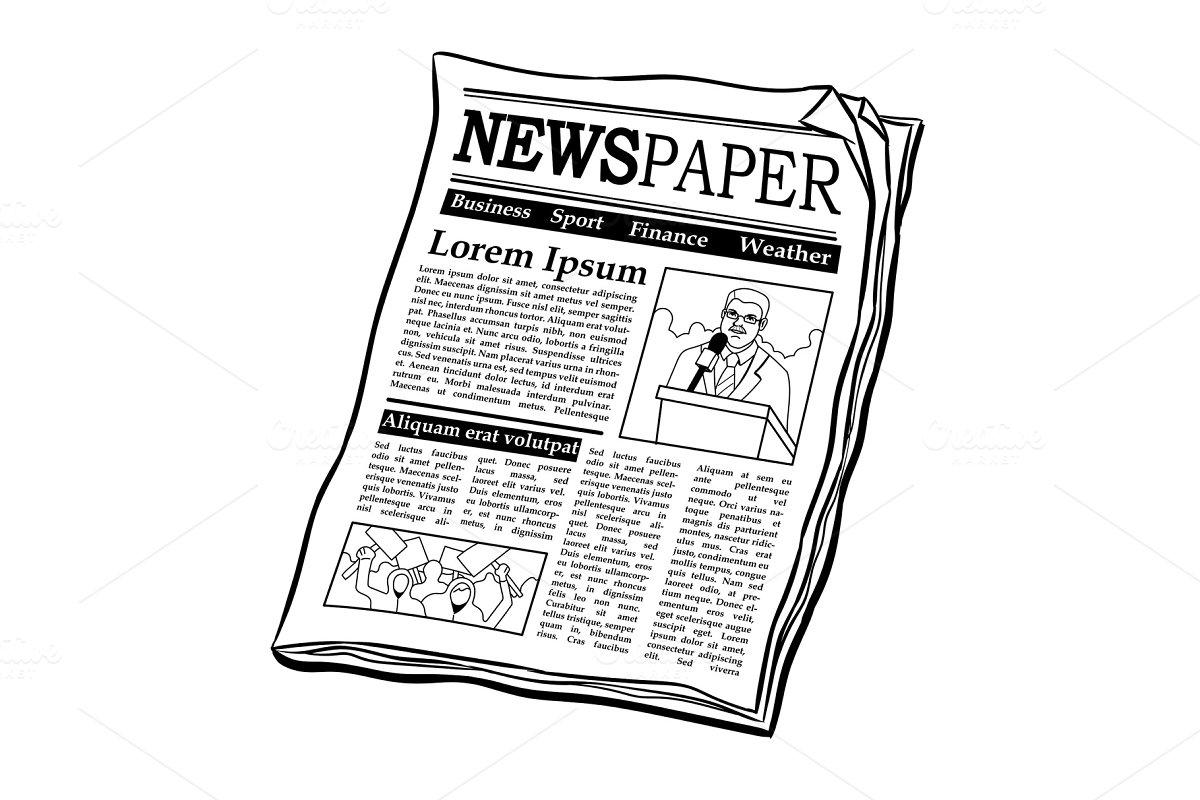 Newspaper coloring book vector illustration