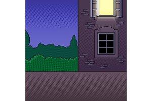 Night building pop art vector illustration