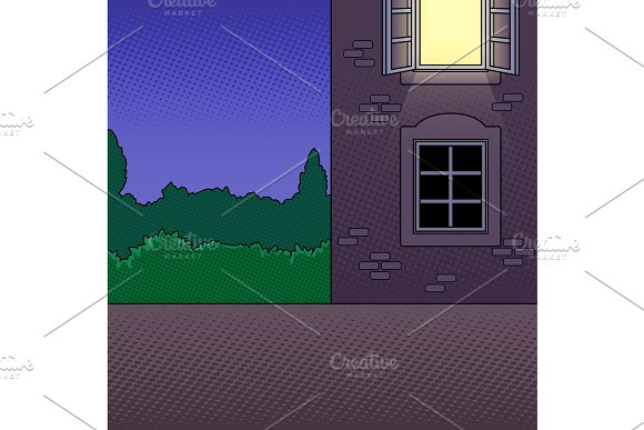 Night building pop art vector illustration