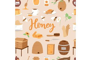 Apiary honey farm vector illustrations beekeeping honecomb jar natural organic sweet insect honied beeswax honeyed beehive beekeeper seamless pattern background