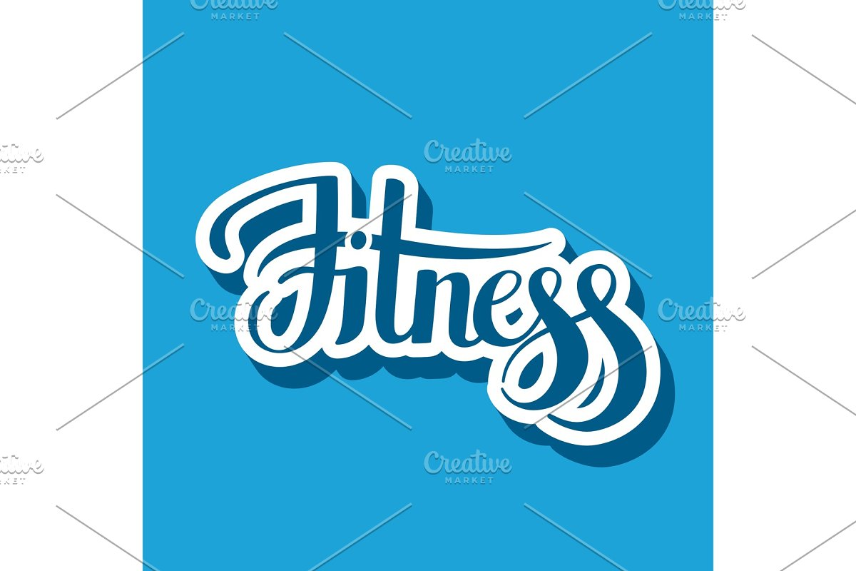 Fitness emblem hand lettering vector illustration