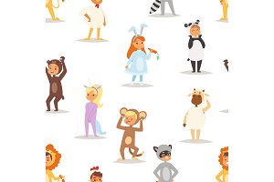 Children kids animal costumes vector characters Christmas party wearing fancy dress masquerade kids holiday seamless pattern background illustration